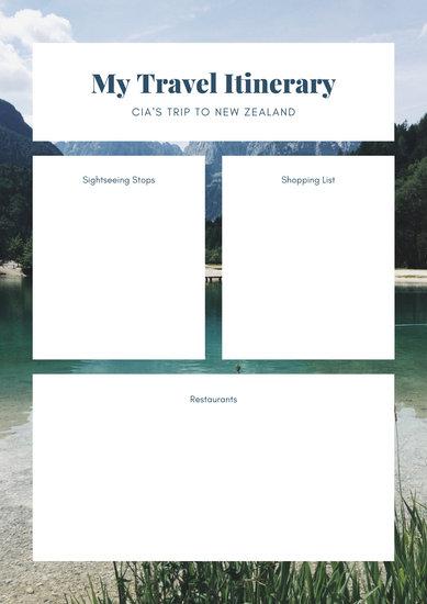 White Photo Itinerary Planner