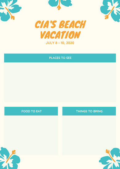 Ivory Flowers Beach Itinerary Planner