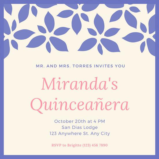 Purple Illustrated Quinceanera Party Invitation