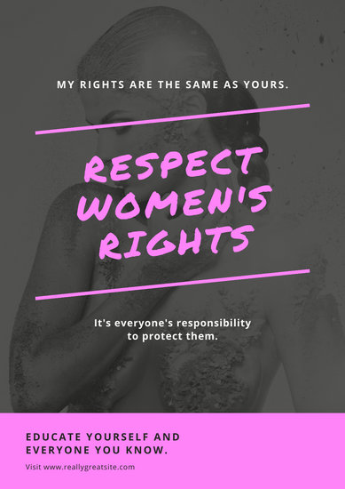 Grayscale Photo Pink Brush Strokes Women's Rights Poster