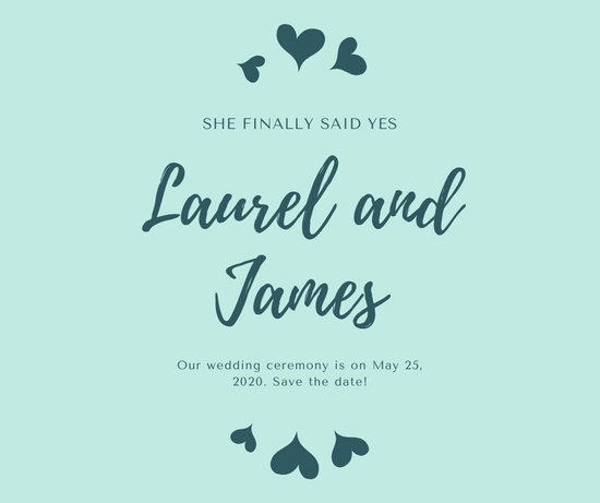 Teal Hearts Engagement Announcement Facebook Post