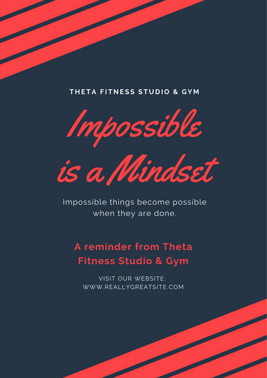 Simple Dark Blue and Red Motivational Quote Gym Poster