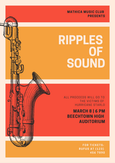 Orange and Red Illustrated Saxophone Jazz Event Poster