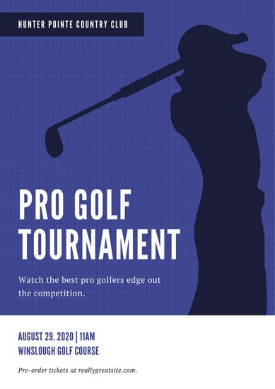 Blue Silhouette Golf Poster