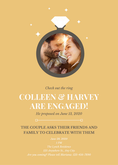 Gold Diamond Ring Engagement Announcement