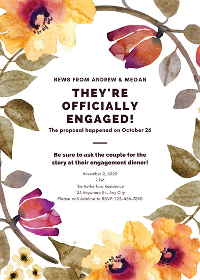 Floral Watercolor Engagement Announcement