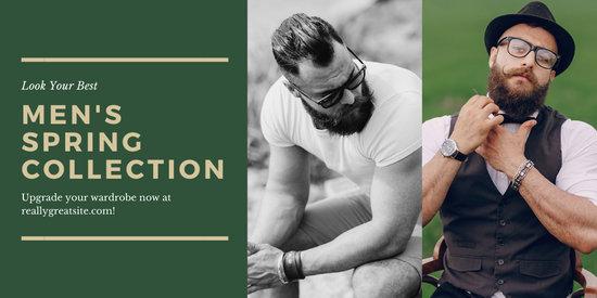 Green Photo Rustic Masculine Fashion Twitter Post