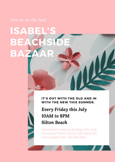 Pink & White Tropical Minimalist Simple Clean Summer Event Flyer