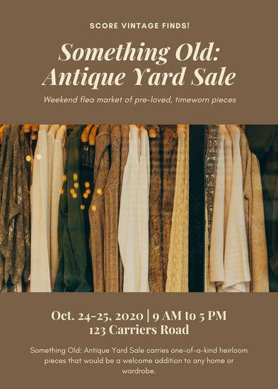 Cream and Brown Photo Yard/Garage Sale Flyer