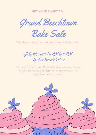 Cream Cupcake Bake Sale Flyer