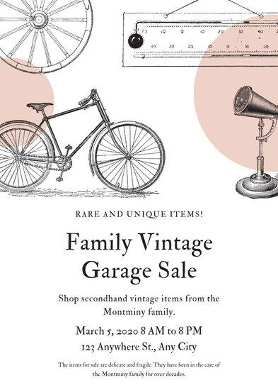 Peachpuff Vintage Illustrations Yard Sale Flyer