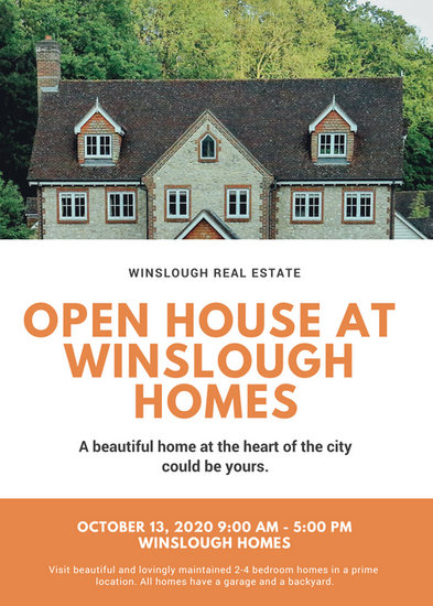 Orange with House Photo Open House Flyer