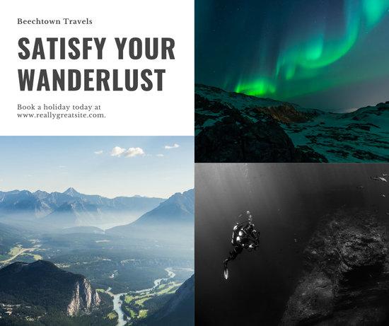 Minimalist Travel Plain Photo Collage Facebook Post