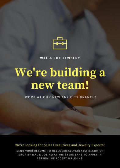 Yellow and Black Photo Job Vacancy Announcement