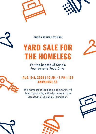 Navy Blue and Orange Illustrations Yard Sale Flyer
