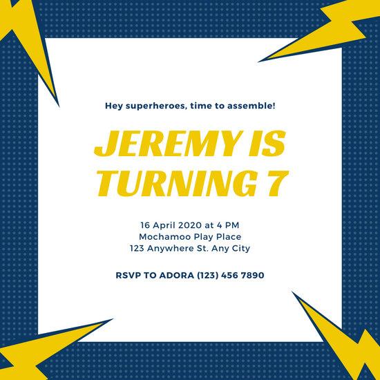 Blue Lightning Superhero Invitation