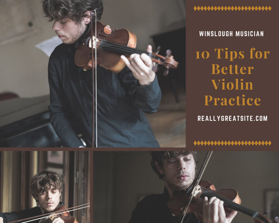 Brown Violin Themed Music Collage