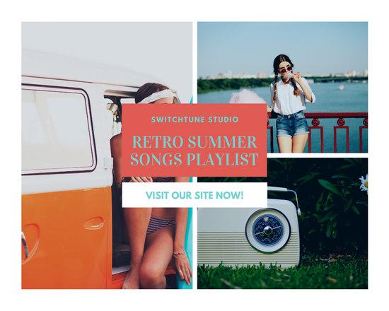 Retro Summer Music Photo Collage