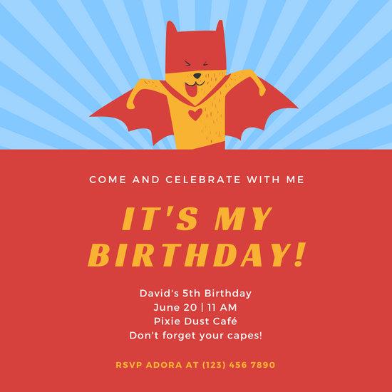 Blue Red Dog Superhero Invitation