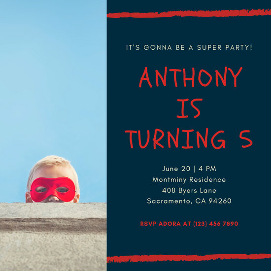 Blue Little Boy Superhero Invitation