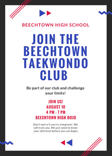 Red White Blue Taekwondo Club Flyer