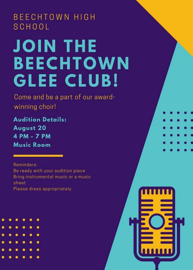 Violet Aqua Yellow Glee Club Flyer
