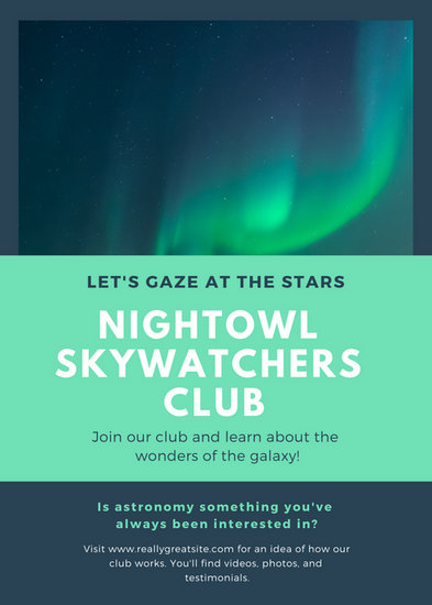 Dark Blue and Light Teal Club Flyer