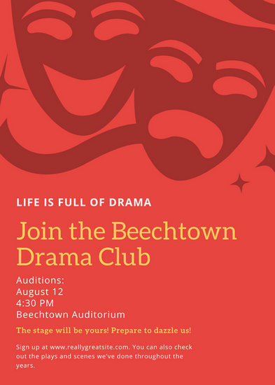 Red Orange Theater Illustrations Drama Club Flyer