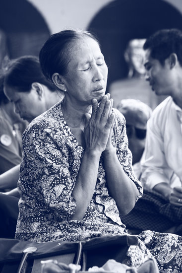 Pray, Woman, Myanmar, Burma, Asia, Temple, Buddhist