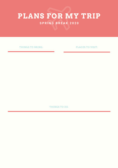Coral Cream Travel Itinerary Planner