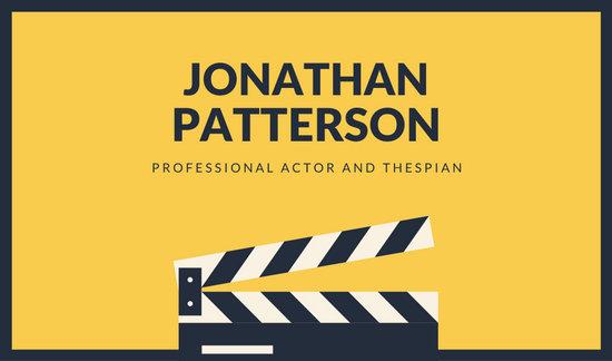 Yellow Clapper Modern Actor Business Card