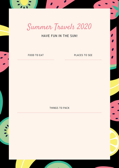 Coral Fruit Pattern Travel Itinerary Planner