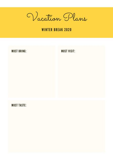 Yellow and White Grid Itinerary Planner