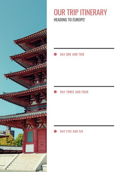 Red and White Photo Travel Itinerary Planner