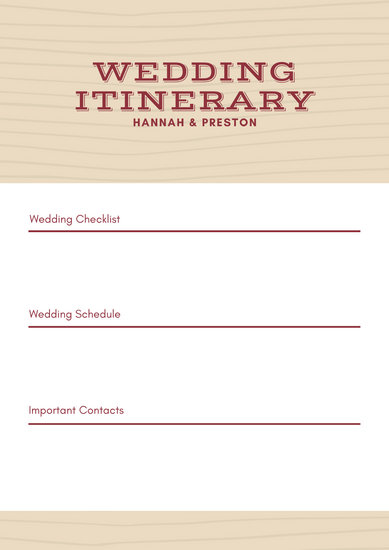Red and Pale Beige Line Pattern Wedding Itinerary Planner