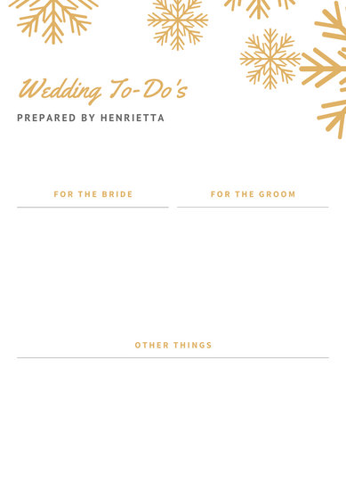 Gold Snowflakes Header Wedding Itinerary Planner