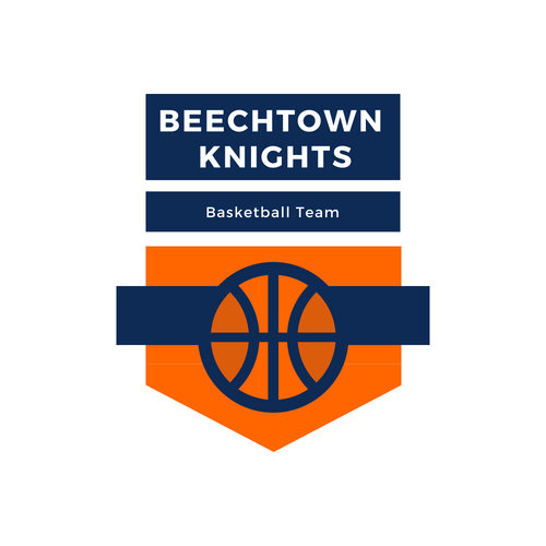 Blue and Orange Banner Basketball Logo