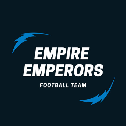 Black and Blue Empire Lightning American Football Logo
