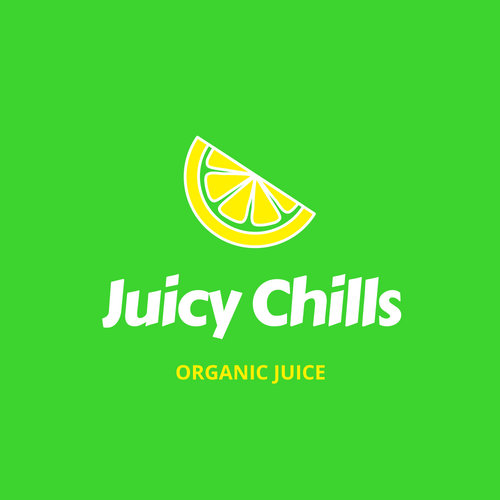 Green, Yellow and White Jusco Citrus Soda Drinks Logo