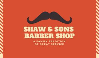 Red Orange Stripes Barber Business Card