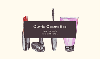 Cream Make Up Cosmetologist Business Card