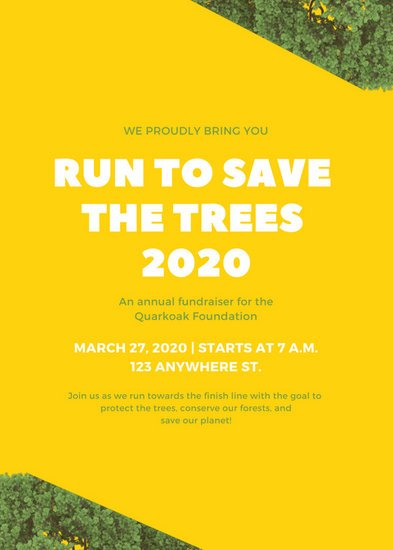 Yellow Tree Cutout Fun Run Fundraiser Flyer