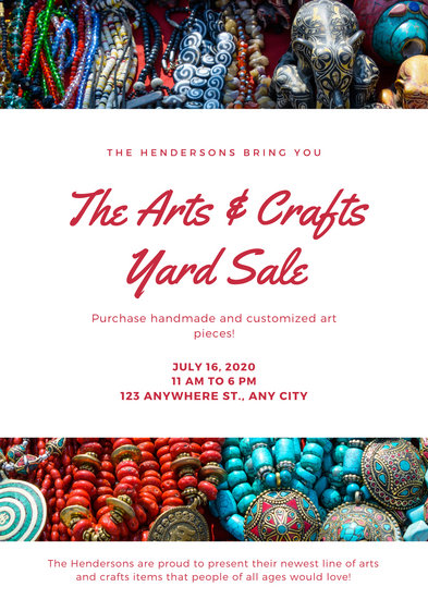 Red Photo Background with White Boxes Yard Sale Flyer