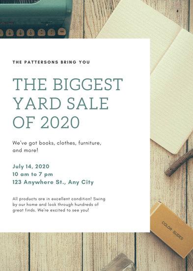 Blue Green Antiques Yard Sale Flyer