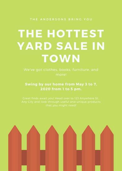 Green Background Fence Yard Sale Flyer