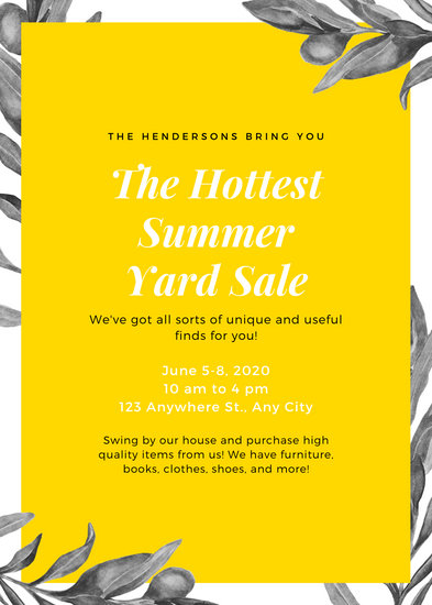 Yellow Olive Branch Yard Sale Flyer