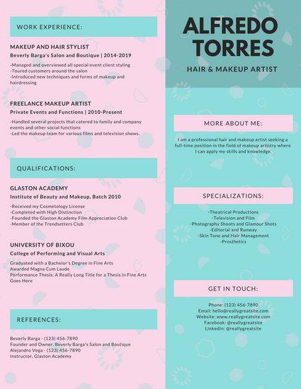 Pastel Pink and Blue Modern Resume