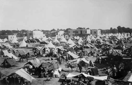 Armenian refugee camp in Gaziantep after the massacres in Adana Province. July 1909. The camp was run by the Armenian Relief Committee. (BSLOC_2013_5_24)