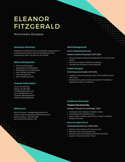 Pastel and Black Shapes Modern Resume