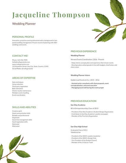 Green Watercolor Leaves Modern Resume